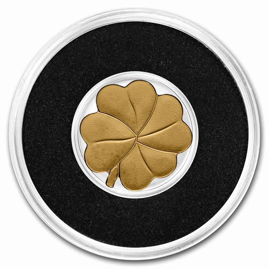 Palau 1/2 gram Gold $1 Four-Leaf Clover